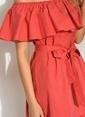 Morhipo Beach Çizgili Poplin Elbise Kırmızı